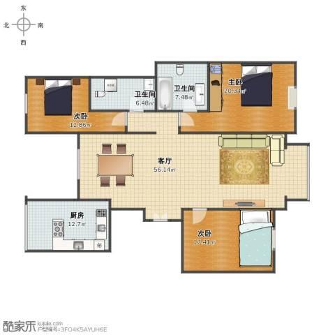 园丁小区3室1厅1卫2厨145.00㎡户型图