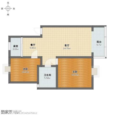 凯莱花园2室2厅1卫1厨85.00㎡户型图