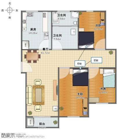 相公吉祥苑3室1厅1卫2厨125.00㎡户型图