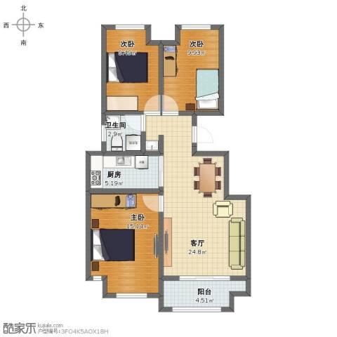 塞纳荣府别墅3室1厅1卫1厨88.00㎡户型图