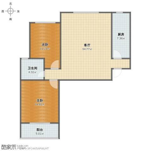 纯棉时代2室1厅1卫1厨86.00㎡户型图