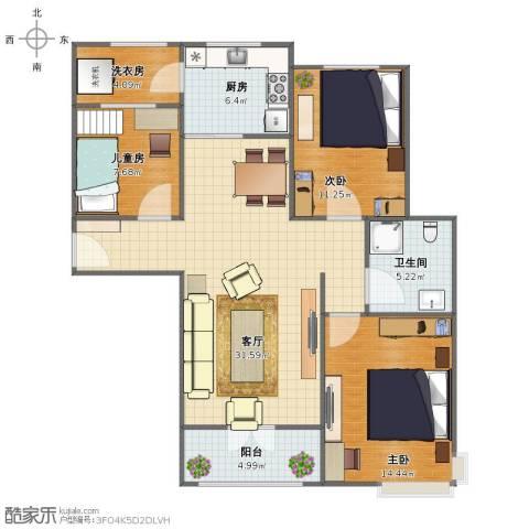 碧桂园滨海城3室1厅1卫1厨93.00㎡户型图