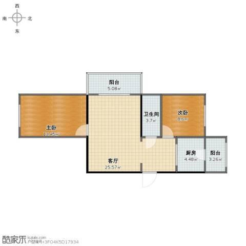 大方里小区2室1厅1卫1厨72.00㎡户型图
