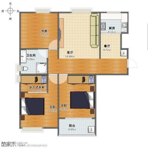 晶都瑞嘉花园3室2厅1卫1厨91.00㎡户型图