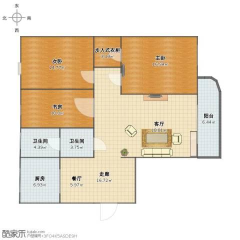 南池水景园3室2厅1卫2厨114.00㎡户型图