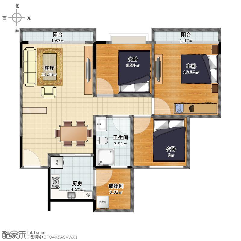 中海西岸华府户型图南区76平米3房户型图