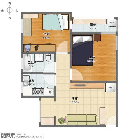 机场新村2室1厅1卫1厨51.00㎡户型图
