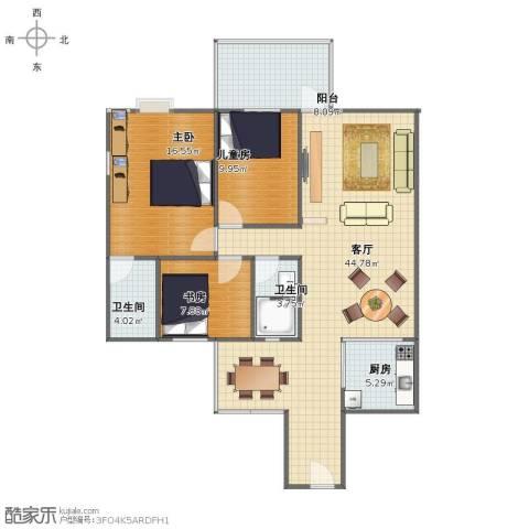 嘉誉蓝湾3室1厅1卫2厨111.00㎡户型图
