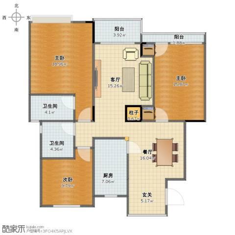 阳光绿城3室2厅1卫2厨114.00㎡户型图