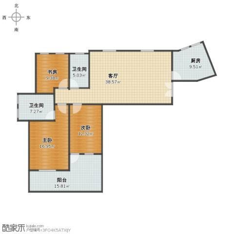 塞纳河畔3室1厅1卫2厨126.00㎡户型图