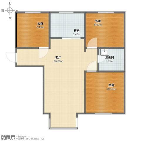 梧桐苑公寓3室1厅1卫1厨69.00㎡户型图