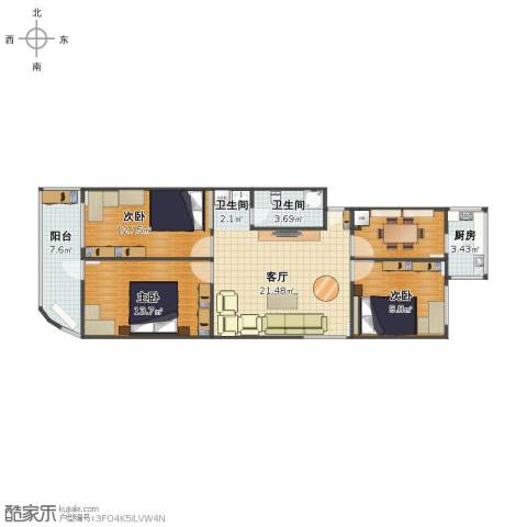 燕城苑小区3室1厅1卫2厨89.00㎡户型图