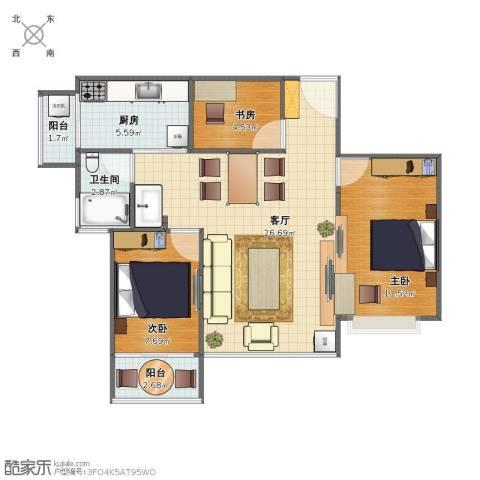 银湖山庄二期3室1厅1卫1厨71.00㎡户型图