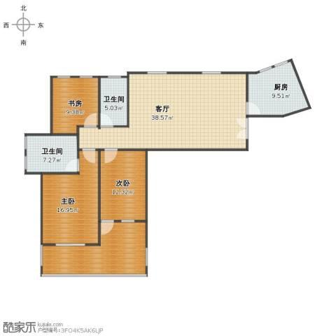 塞纳河畔小区3室1厅1卫2厨126.00㎡户型图