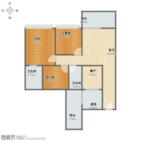 森美时代花园3室2厅1卫2厨97.00㎡户型图