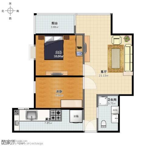 石景山杨庄小区2室1厅1卫1厨62.00㎡户型图