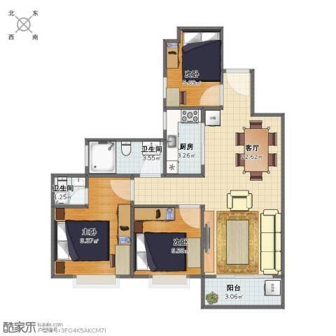 秀乐公馆3室1厅1卫2厨63.00㎡户型图
