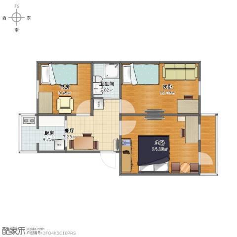 北沙滩8号院3室1厅1卫1厨59.00㎡户型图