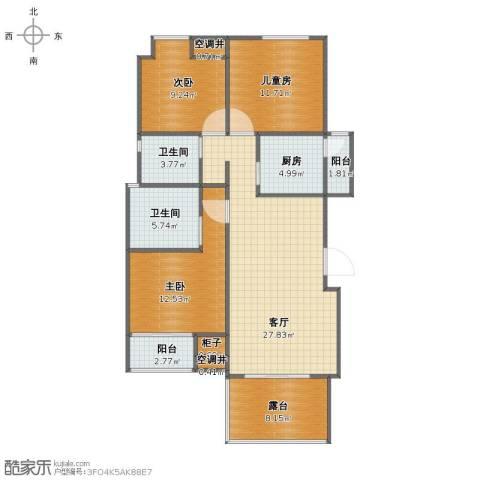 东花园3室1厅2卫1厨101.29㎡户型图