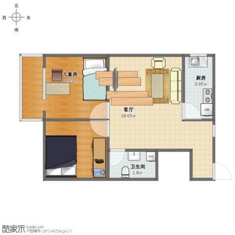 华威西里1室1厅1卫1厨51.00㎡户型图