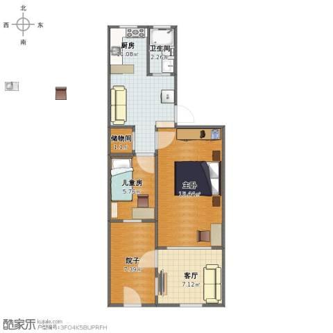文昌桥小区2室1厅1卫1厨57.00㎡户型图