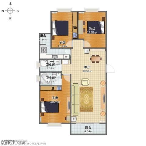亿朋苑3室1厅1卫2厨109.00㎡户型图