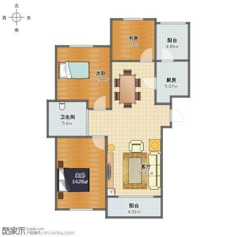 万豪城3室1厅1卫1厨96.00㎡户型图