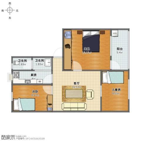樱花园小区3室1厅1卫2厨69.00㎡户型图