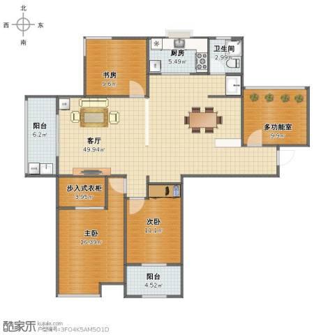 高速秋浦天地3室1厅1卫1厨132.00㎡户型图