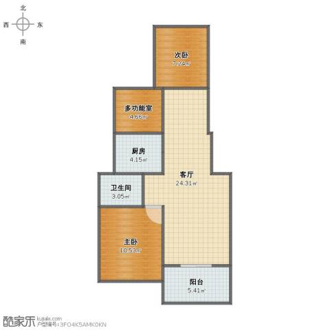 蓝湖西岸2室1厅1卫1厨67.00㎡户型图