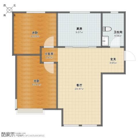万科仕林苑2室1厅1卫1厨69.00㎡户型图