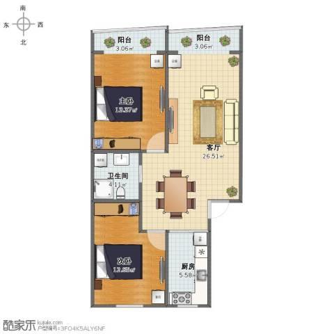 岚皋西路45弄小区2室1厅1卫1厨75.00㎡户型图