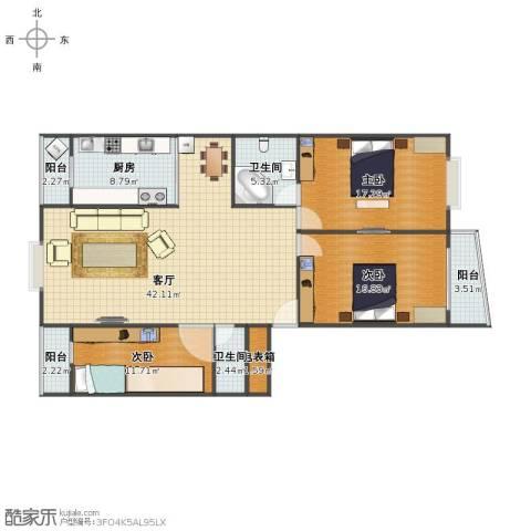 亿朋苑3室1厅1卫2厨125.00㎡户型图