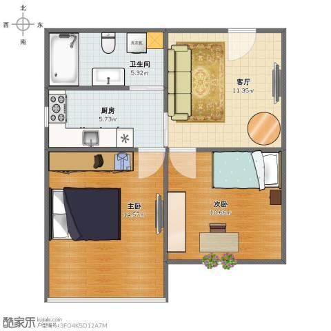 建国西路70号洋房2室1厅1卫1厨53.00㎡户型图