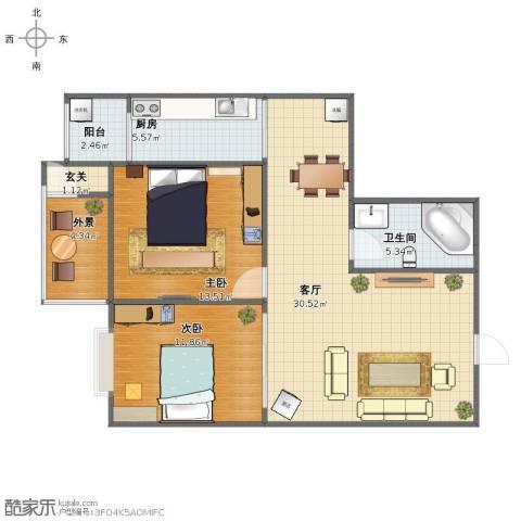 丰硕苑2室1厅1卫1厨83.00㎡户型图
