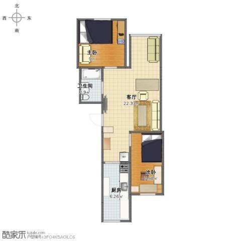 东平里2室1厅1卫1厨55.00㎡户型图