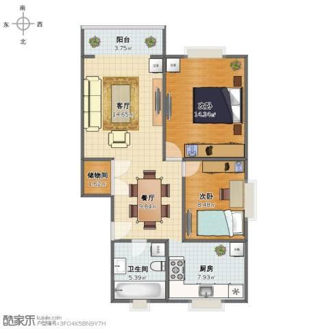华灵路410弄小区2室2厅1卫1厨73.00㎡户型图