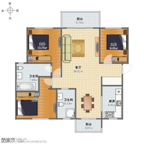 名仕世家花苑3室1厅1卫2厨110.00㎡户型图
