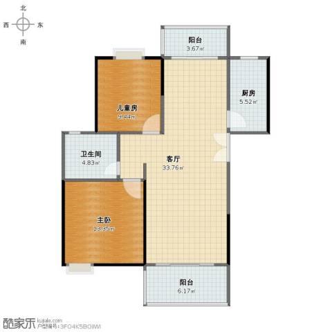 世纪城龙兴苑2室1厅1卫1厨85.00㎡户型图