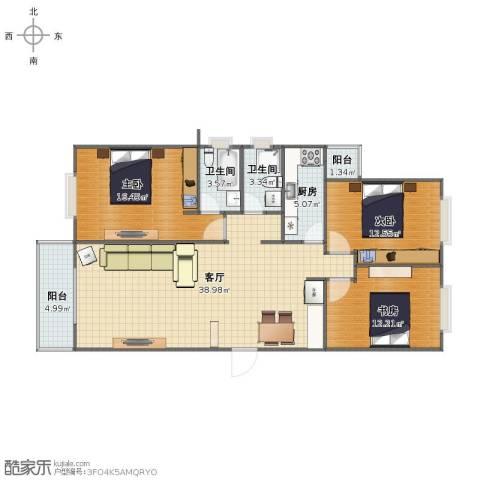 新华大街121号院3室1厅1卫2厨107.00㎡户型图