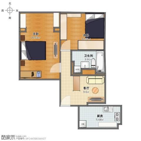 茂兴大厦2室1厅1卫1厨54.00㎡户型图