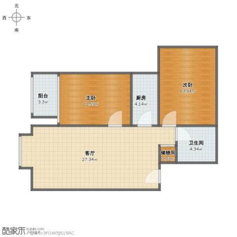 首座绿洲(三期)2室1厅1卫1厨73.00㎡户型图