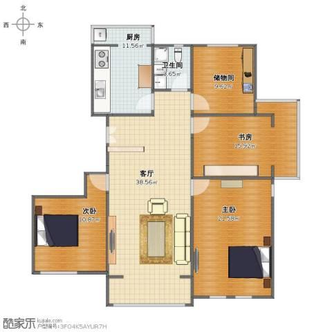 同方广场3室1厅1卫1厨127.00㎡户型图