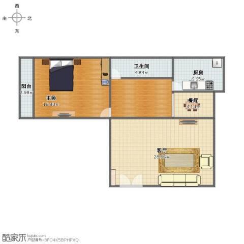 太航小区1室2厅1卫1厨83.00㎡户型图