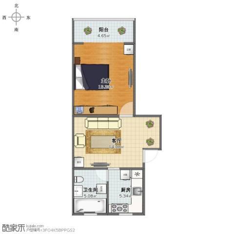 古美西路316弄小区1室1厅1卫1厨50.00㎡户型图