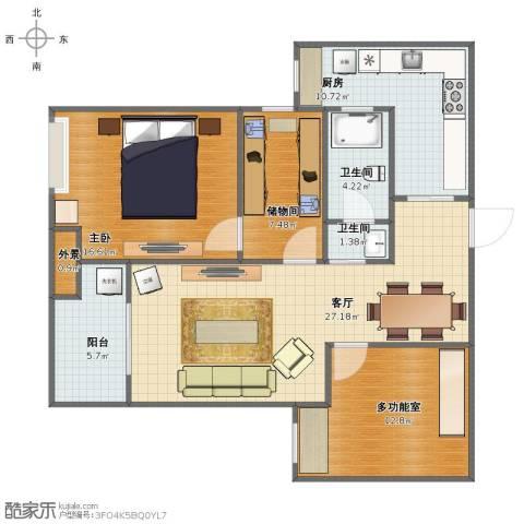 锦荷苑1室1厅1卫2厨96.58㎡户型图