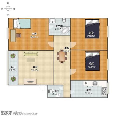 国际大都会3室2厅1卫2厨496.00㎡户型图
