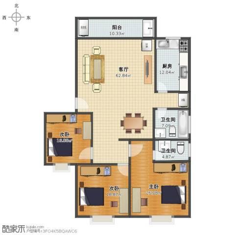 华林东盛花园二期3室1厅1卫2厨177.00㎡户型图