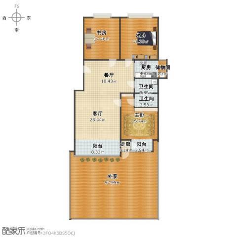 大马庄园3室2厅1卫2厨204.00㎡户型图