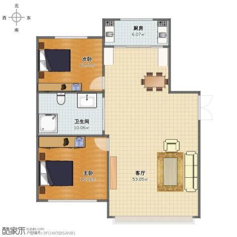 交警一区2室1厅1卫1厨106.00㎡户型图